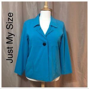 Just My Size Plus Size Blazer 18W Blue